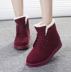 Item Type:Boots Season:Winter Toe Shape:Round Toe Insole Material:Rubber Heel Height:Flat Pattern Type:Solid Vamp Material:Chamois Color:Black,Burgundy,Dark Blue, Beige, Watermelon Red, Brown Size: 4.