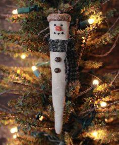 Primitive Christmas Icicle Snowman Ornies