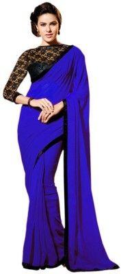 Hari Krishna Enterprise Solid Fashion Georgette Saree(Blue)