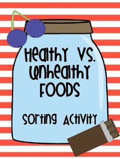 Use this fun & simple sorting activity to help your students learn the difference between healthy & unhealthy foods.  This can be a fun center during your language arts time or can be used as a whole-group lesson!  Perfect to tie into any unit on food or health in your classroom!