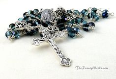 Lourdes Holy Water Rosary St Bernadette Blue by TheRosaryWorks