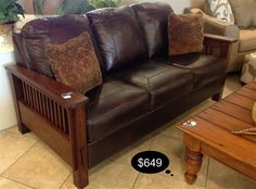 Gorgeous bonded leather sofa in a rustic mission style.    Yesterdays Treasures Consignment  5829 Lone Tree Way Suite J  Antioch, CA 94531  925.233.4547  www.Yesterdayststore.com  Info@yesterdayststore.com