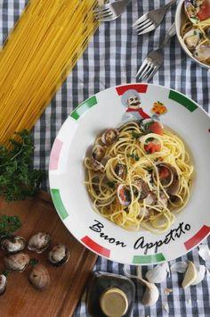 Spaghettis aux palourdes sans gluten.  #spaghettis #palourdes #vongole #italie #italia #sansgluten #pates