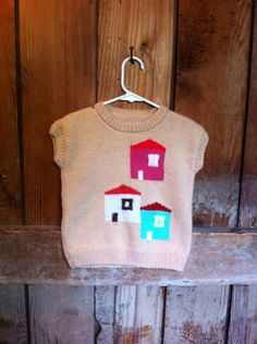 Vintage Hand Knit CapSleeve Sweater, Peach, Kids