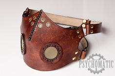 Custom Handmade Steampunk Half Face Breather Leather Motorcycle Mask by Psychomatic.
