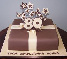 80th Birthday Package Cake by cakespace - Beth (Chantilly Cake Designs), via Flickr