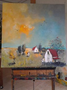 'Karoo farm' mixed media on streched canvas by Glendine Karla Gerard, Farm Art, South African Artists, Art Studies, Abstract Landscape, House Painting, Painting Inspiration, Home Art, Art Pieces