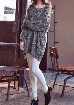 Two-Colored Knitted Pullover - Scoop Neckline Sweater