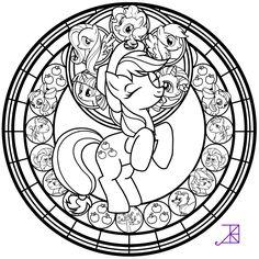 Stained Glass: Applejack -line art- by Akili-Amethyst.deviantart.com on @deviantART