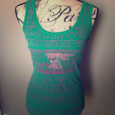 To Erin Free People Green and red Tank with Buddag Beneath the Tree Free People Tops Tank Tops