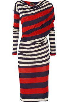 Heidi Klum wearing Yves Saint Laurent Tribtoo Cap Toe Pumps and Vivienne Westwood Anglomania Toga Striped Jersey Dress. Diy Couture, Vivienne Westwood Anglomania, Striped Jersey, Color Azul, Dress Skirt, Toga Dress, Knit Dress, Dress Me Up, Striped Dress