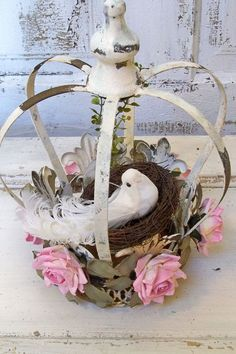 Shabby chic metal crown large distressed white by AnitaSperoDesign, $90.00