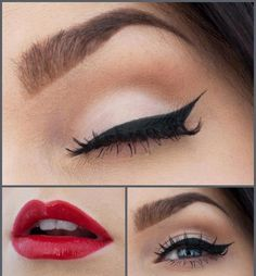 My favorite- red lips and accurate eyeliner with a bit mascara and nothing more