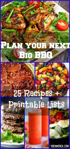 The Best Summer Cookout/BBQ Meal Plans, #Recipes and Inspirations with a printable grocery list for each recipe. Easy. - IdeaMooch.com