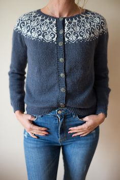 Ravelry: Lotusblomstkofte / Lotus flower jacket pattern by Marianne J. Cardigan Design, Cardigan Pattern, Jacket Pattern, Jumpsuit Pattern, Hand Knitted Sweaters, Sweater Knitting Patterns, Knit Patterns, Fair Isle Knitting, Hand Knitting