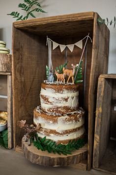 rustic naked cake with animal decorations