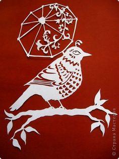 Картина панно рисунок Вырезание Птичка под зонтиком_Angie Pickman Бумага фото 1