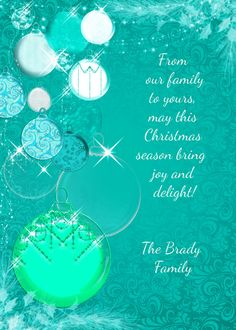 Christmas card silver and turquoise teal by OldOwlPress on Etsy