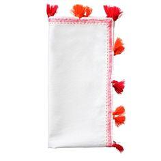 KIM SEYBERT Pom Pom Napkin Set Of 2 White/Fuchsia/Orange $28 BEST PRICE & SATISFACTION GUARANTEED! FREE WORLD SHIPPING ORDER PICK UP IS ALSO AVAILABLE *WE ARE AN AUTHORIZED KIM SEYBERT RETAILER*