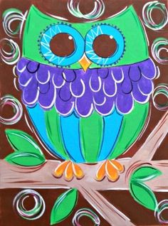 Animals For > Cute Owl Painting On Canvas