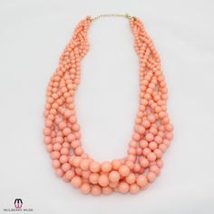 Private Label Twisted Bauble Necklace - Peach  - OSFA