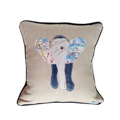 "Recycled denim 16"" elephant cushion - hardtofind."