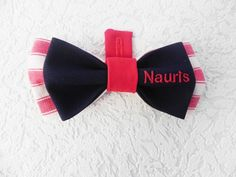 Nauris, Embroidered bow tie with Nauris name tag, handmade by Betolli