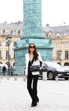 Paris outfit. Place Vendome. Chanel Classic flap bag. Mariannelle http://mariannelle.com/