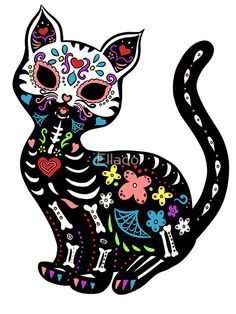 This cute little sugar skull kitty is certain to sweeten even your darkest night. Sugar Skull Artwork, Sugar Skull Cat, Sugar Skulls, Cat Skull, Halloween Stickers, Halloween Crafts, Day Of The Dead Art, Mexican Folk Art, Cute Stickers