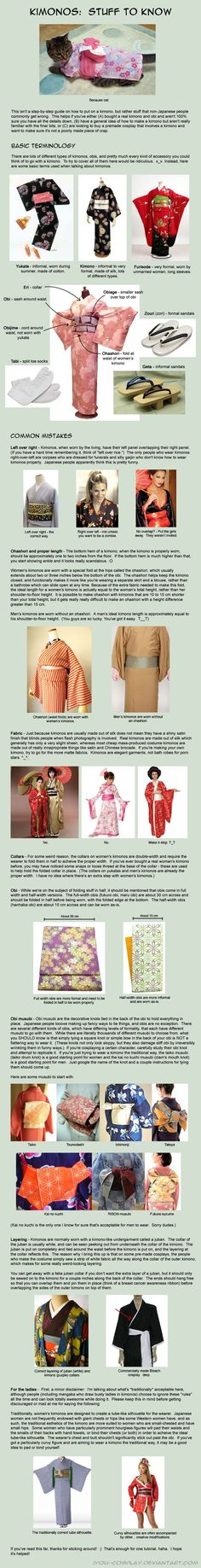 Kimonos: Stuff to Know by iyou-cosplay on DeviantArt Japanese Culture, Japanese Art, Japanese Geisha, Japanese Yukata, Japanese Textiles, Japanese House, Japanese School, Japanese Outfits, Japanese Fashion