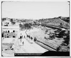 Jerusalem-القدس الشريف: منظر عام في الإتجاه الشمالي الشرقي وتظهر بركة السلطان وباب الخليل، اُنقر الصورة لتكبيرها. (قبل 1914)