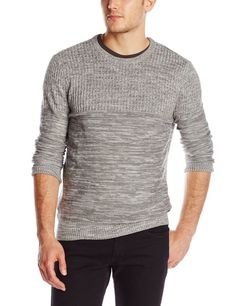 Calvin Klein Jeans Men's Mixed-Knit Crew Neck Sweater LARGE NWT Platinum $69 RET #CalvinKleinJeans #Crewneck #sweater #menswear