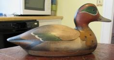 Wood Wigeon Wormwood Duck Hand Carved Decoy Signed Tom Taber - Ducks Unlimited
