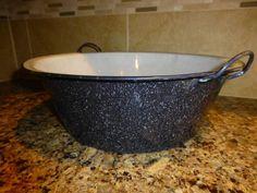 Vintage Speckled Graniteware Enamelware X Large Wash Basin Pan Free Shipping