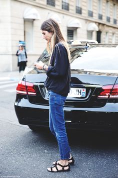 strappy sandals + jeans