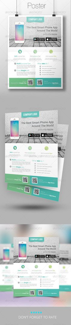 App Promotion Flyer Template — Photoshop PSD #app #creative • Available here → https://graphicriver.net/item/app-promotion-flyer-template/7574749?ref=pxcr