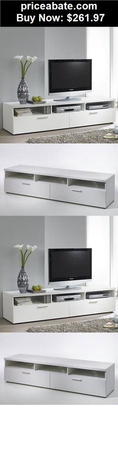 """Furniture: Contemporary TV Stand 70"""" Entertainment Media Center Modern White Home Cabinet - BUY IT NOW ONLY $261.97"""