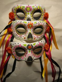 Día de los Muertos/ Day of the  Dead Half Mask. $25.00, via Etsy.