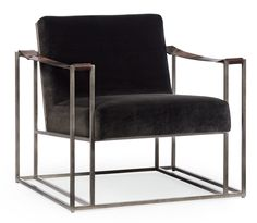 Dekker Chair w/ velvet upholstery + leather arm strap detailing | Bernhardt