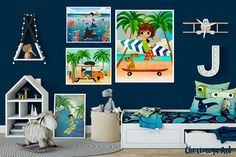 Boy Surfer Wall Art Surf Art Boy Surf Wall Decor Beach Art