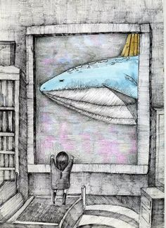 고래성,도서관,소녀,일러스트