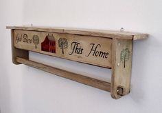 God Bless This Home Hanging quilt rack shelf. by QuiltRacksByDon, $95.00