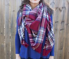 Plaid Blanket Scarf. 5 Colors Available.