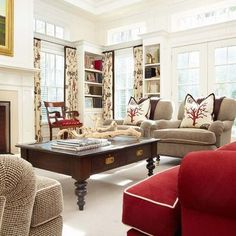 Family Room Tan Couch Design, Pictures, Remodel, Decor and Ideas - page 21 Living Colors, Living Room Red, Home And Living, Living Spaces, Red Family Rooms, Traditional Family Rooms, Red Sofa, Red Couches, Ideas