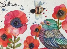 LOVE THIS Flowers and Birds Watercolor 5x7 inch print