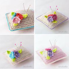 Small flowers crochet pincushion by Anabelia Craft Design