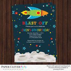 Outer space birthday invitations -- boys birthday -- rocket ship boys party digital file, printable