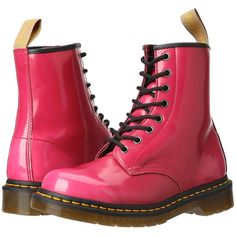Dr. Martens 1460 Vegan 8-Eye Boot Lace-up Boots ($72) ❤ liked on Polyvore featuring shoes, boots, hot pink cambridge brush, laced up boots, vegan shoes, hot pink boots, cat shoes and slip resistant boots