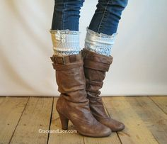 The Lacey Lou - Off White Open-work Leg Warmers with knit lace trim & buttons - Legwarmers boot socks