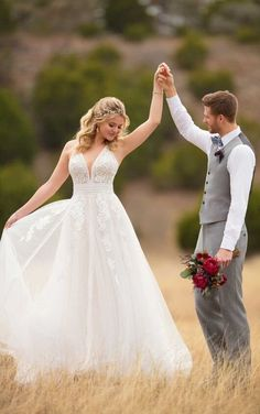 D2607 Boho Wedding Dress with Linear Detail by Essense of Australia